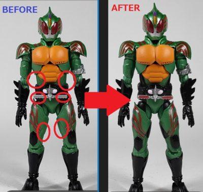 掌動 仮面ライダーアマゾンオメガ 追加塗装箇所