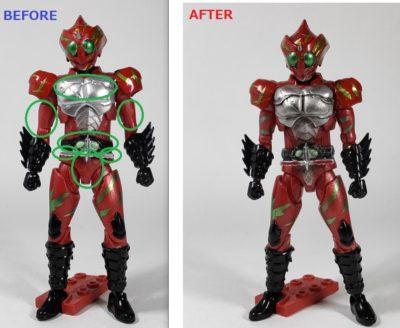 掌動 仮面ライダーアマゾンアルファ塗装追加の説明
