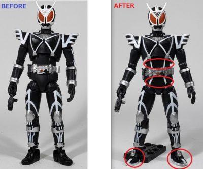 掌動仮面ライダーデルタ塗装前と塗装後