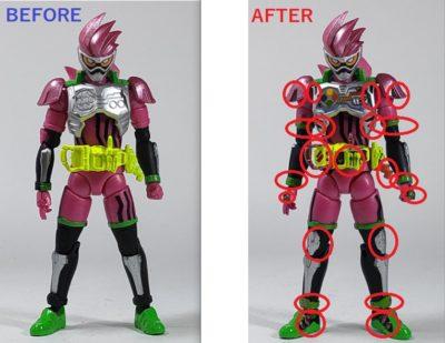 掌動 仮面ライダーエグゼイド塗装前と塗装後