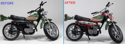 掌動 ライダーマンマシン塗装前と塗装後